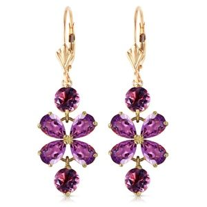 GOLD CHANDELIERS EARRING WITH AMETHYSTS
